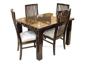 Stylish 4 chair dining table with great polish and finishing. Exclusive chairs with great workmanship. Best quality dinings in Delhi and NCR (Gurgaon, Noida).