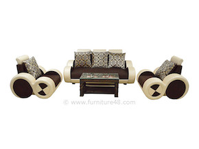 3 piece sofa set with comfortable seats. Rich fabric and quality structure serves you for many years. Bestseller sofa from our widest collection of Indian home furniture in Gurgaon and Noida.