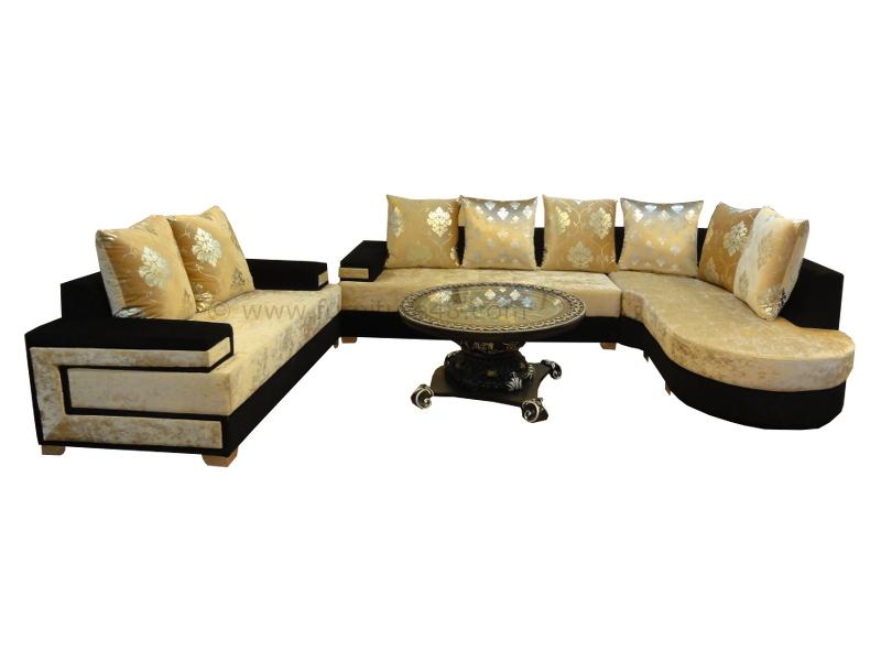 Np U Shape Golden Black Sofa