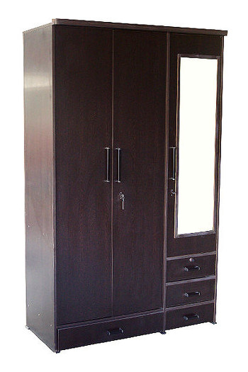 3 Door Wardrobe With A Looking Mirror And Set Of Drawers